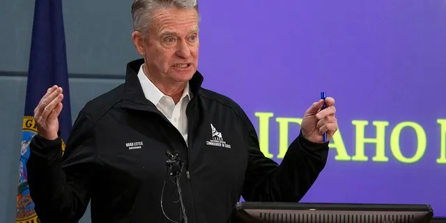 Idaho Gov. Brad Little at a March 2020 news conference.