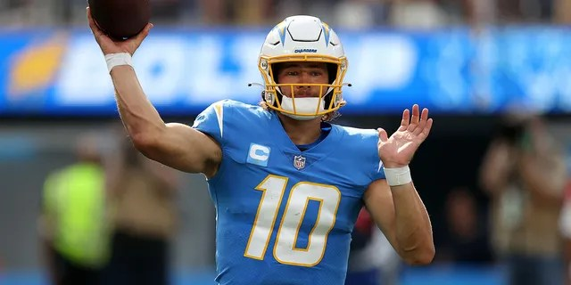 Justin Herbert of the Los Angeles Chargers at SoFi Stadium on Oct. 10, 2021, in Inglewood, California.