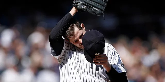 New York Yankees pitcher Jordan Montgomery reacts during the third inning of a baseball game against the Tampa Bay Rays on Saturday, Oct. 2, 2021, in New York.