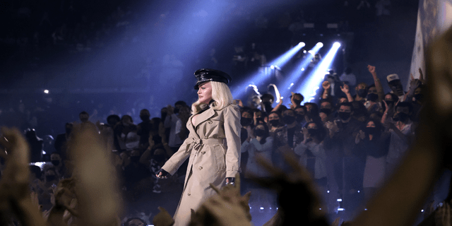 Madonna speaks onstage during the 2021 MTV Video Music Awards at Barclays Center in September 2021. Recently, Madonna performed her hit song 'Like a Prayer' on the steps of a church in NYC (Photo by Mike Coppola/Getty Images for MTV/ViacomCBS)