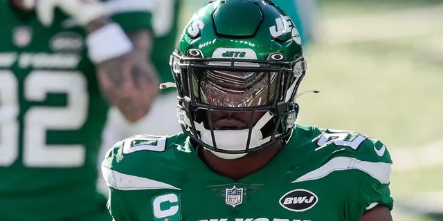 New York Jets free safety Marcus Maye (20) reacts during the first half against the Miami Dolphins at MetLife Stadium.
