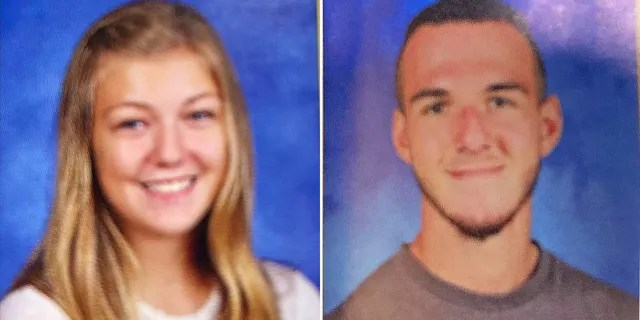 The images show Gabby Petito in her sophomore year and Brian Laundrie as a junior at Bayport-Blue Point High School in New York.