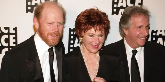 From left: Ron Howard, Marion Ross and Henry Winkler during the 56th Annual ACE AD Awards - Arrival at the Beverly Hilton in Beverly Hills, California, United States.