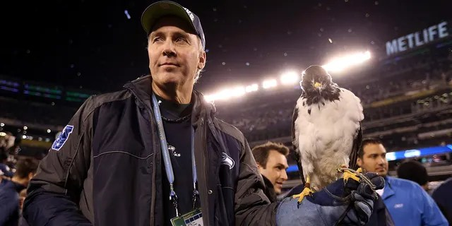 Taima the Hawk, mascot for the Seattle Seahawks, rests on the arm of Dave Knutson after the Seahawks 43-8 win over the Denver Broncos during the 2014 Super Bowl at MetLife Stadium Feb. 2, 2014 in East Rutherford, New Jersey.