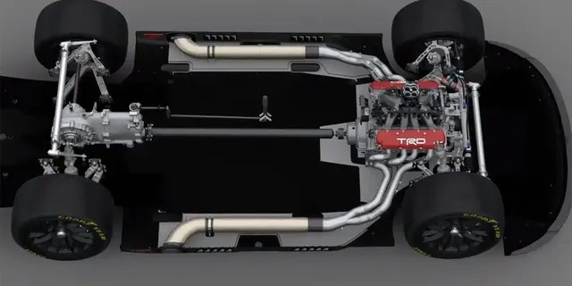 The rear-mounted transaxle can be seen in this cutaway of the Next Gen Toyota Camry Cup Series car.