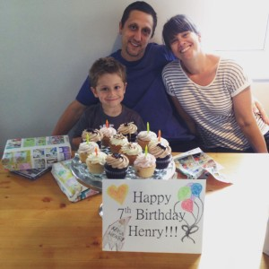 Adam and Emily with their son Henry on his Birthday