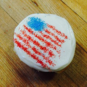 Celebrate with us today!  Stop by and try a USA Cupcake!