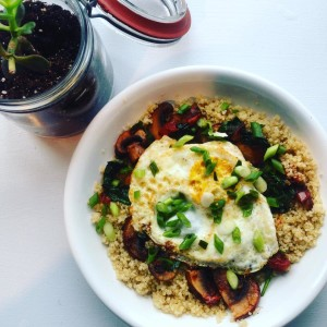 Our Savory Quinoa Bowl, a new menu item, is packed with protein and is so delicious!