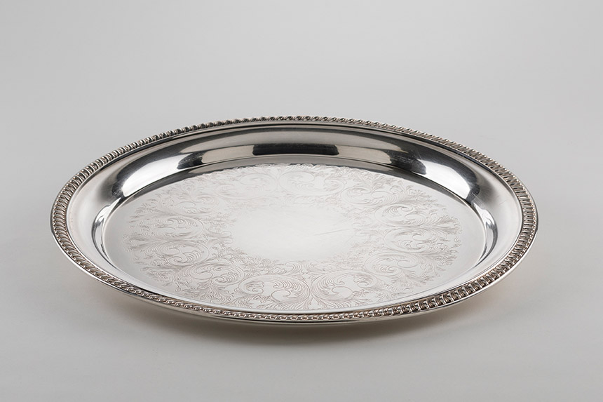 round silver serving tray rentals