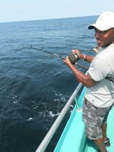 Michael Lewis Voo Doo Saint star enjoying deep sea fishing for red snapper in Orange Beach AL