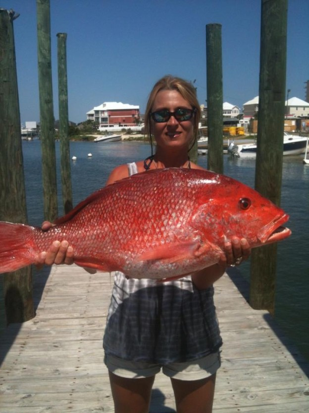 Big alabama red snapper and Tracy Kruse