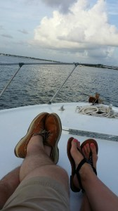 couple enjoying a private sunset cruise along the AL gulf coast