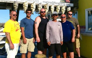 Michigan anglers with their inshore fishing charter catch of sheepshead on the AL/FL state line