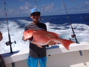 large red snapper caught on charter boat Sea Hunter