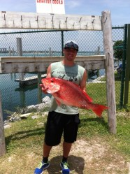 big red snapper caught deep sea fishing with Captain Ricky McDuffy on the Sea Hunter