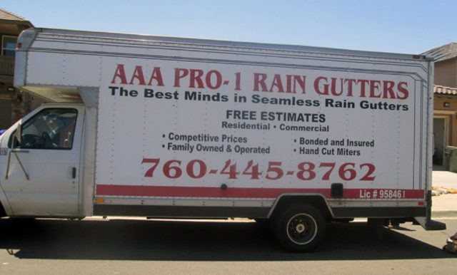 AAA Pro 1 Rain Gutters van that we use for our new gutter installation service.