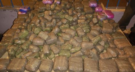 مارتيل: إجهاض محاولة تهريب 595 كلغ من مخدر الشيرا