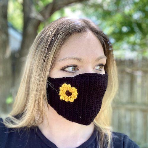 floral appliqué face mask