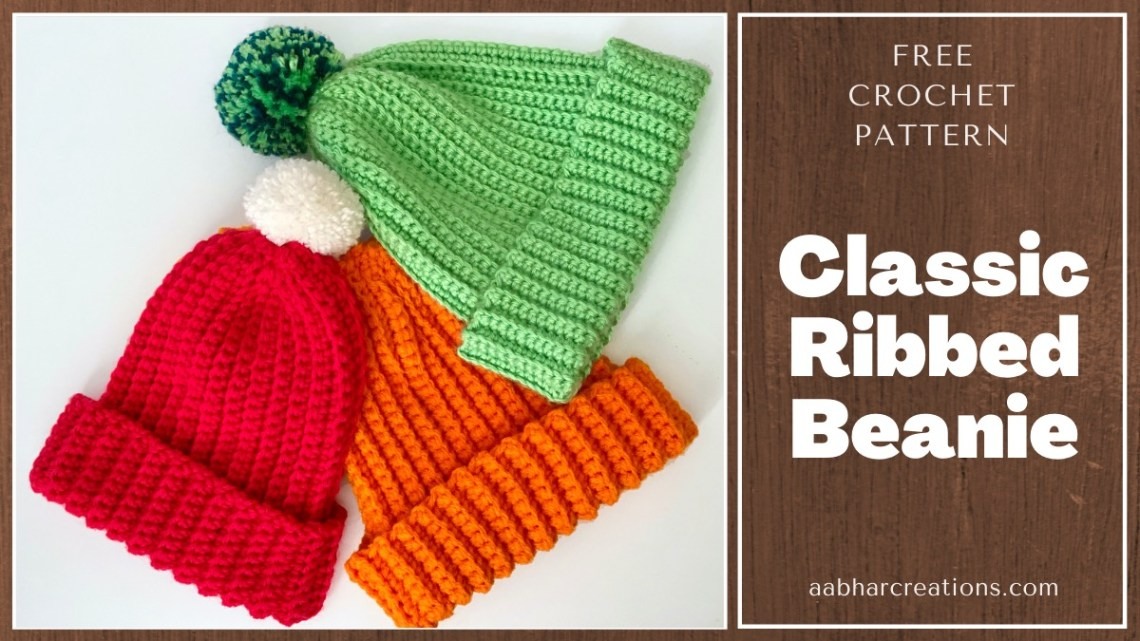 classic ribbed beanie crochet pattern featured