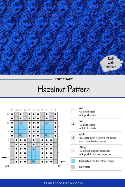 Hazelnut Stitch Pattern Knit Chart