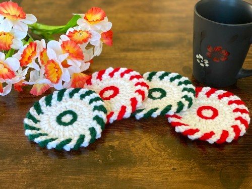 Peppermint Christmas Coasters from Etsy