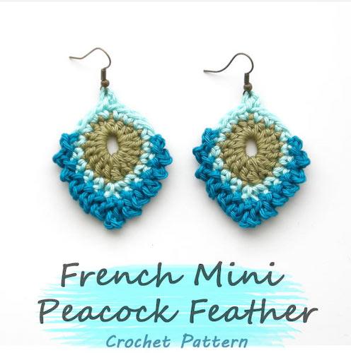 French Mini Peacock Feather Earrings crochet last-minute gift