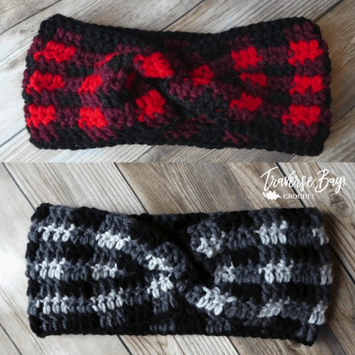 Crochet Plaid Twist Headband from Traverse Bay Crochet