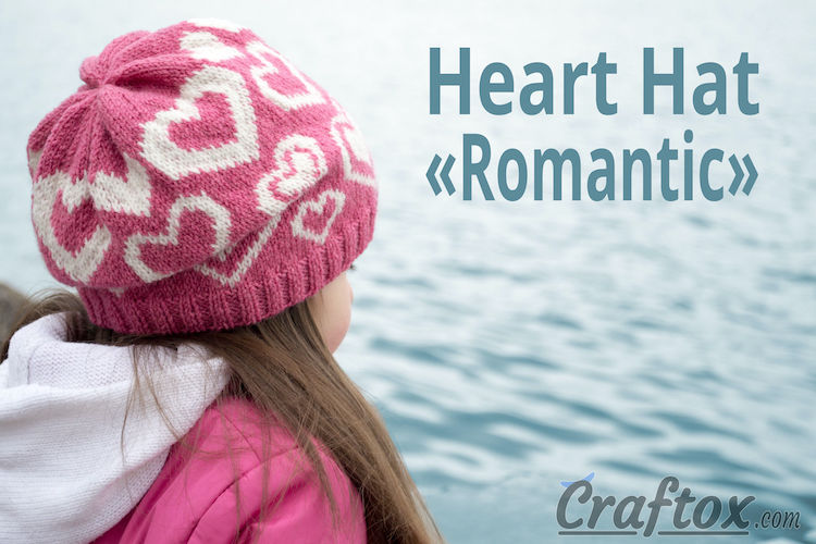 "Heart Hat ""Romantic"" Free Knitting Pattern from craftox.com"