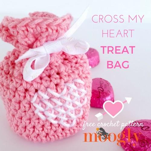 Pattern: Cross My Heart Treat Bag from Moogly Blog