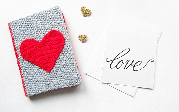 Pattern: DIY Valentines Crochet Notebook Sweater from Claireabellemakes valentine's free crochet patterns