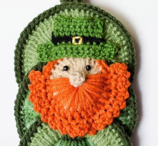 patrick's day crochet patterns Crochet Leprechaun Applique
