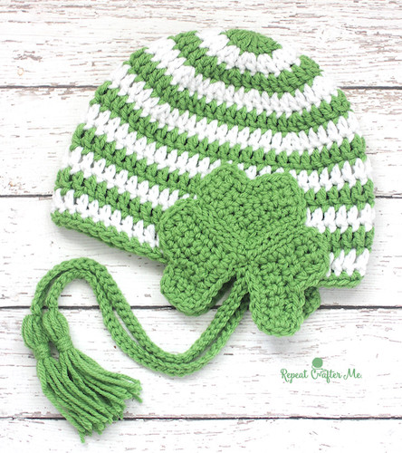 patrick's day crochet patterns Crochet Shamrock Earflap Hat