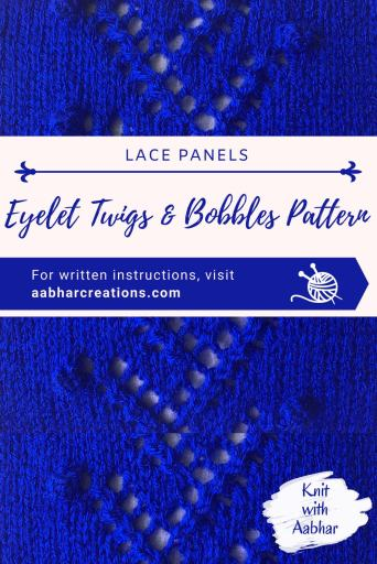 Eyelet Twigs and Bobbles Stitch Pattern pin aabharcreations