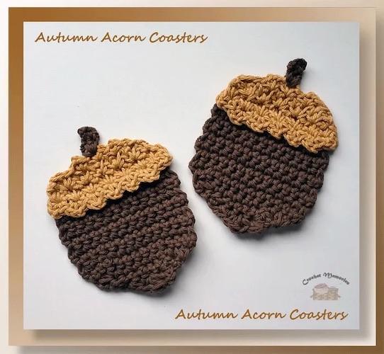 Pattern: Autumn Acorn Coasters from Crochet Memories fall crochet patterns