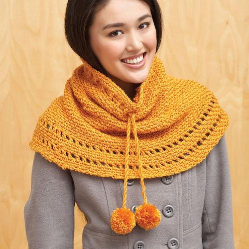 Pattern: Bernat Drawstring Cowl from Yarnspirations fall crochet patterns