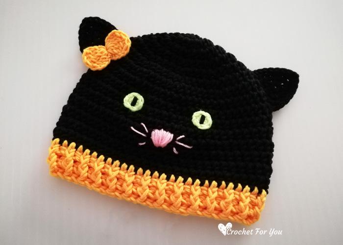 Pattern: Crochet Halloween Black Cat Hat Pattern by Crochet For You