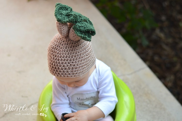 Pattern: Crochet Mandrake Baby Hat – Free Crochet Pattern from Whistle and Ivy