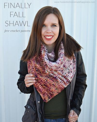 Pattern: Finally Fall Shawl Crochet Pattern from Hooked on Homemade Happiness