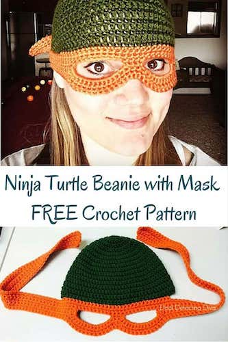 Pattern: Ninja Turtle Child's Beanie with Mask from Heart Hook Home
