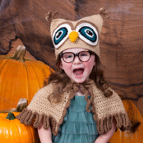 Pattern: Red Heart It's A Hoot Owl Hat & Cape from Yarnspirations crochet halloween costumes
