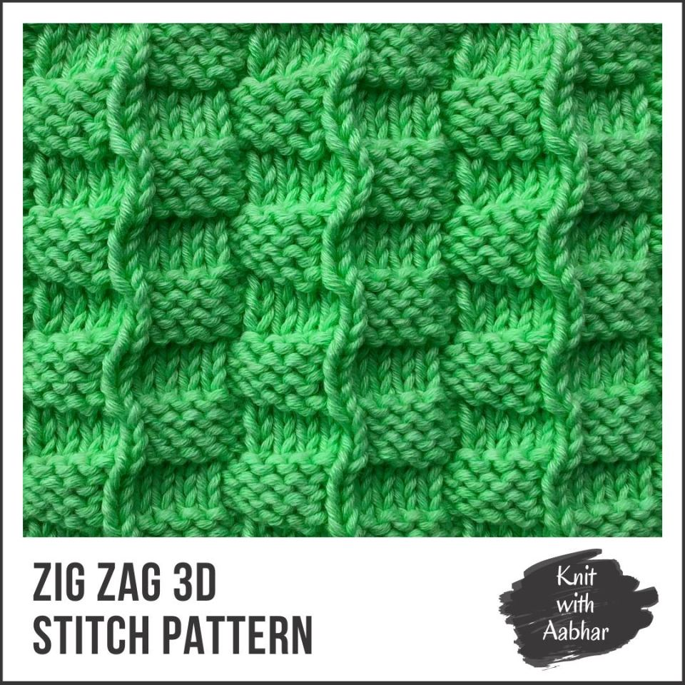 Zig Zag 3d Stitch Pattern Portfolio learn to knit with Aabhar by aabharcreations