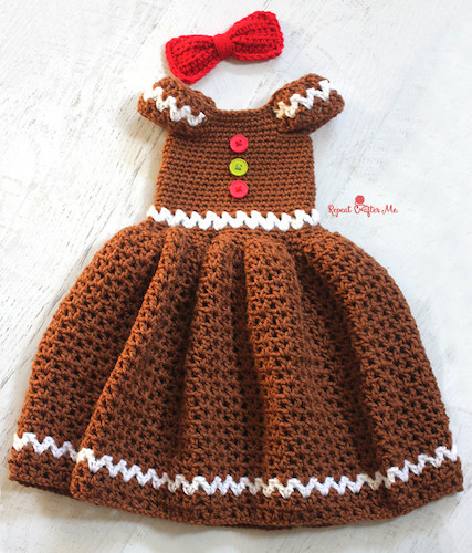 Pattern: Crochet Gingerbread Girl Dress from Repeat Crafter Me