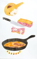 "Jesper Aabille ""Stegt Bacon og Champignoner"", Den Store Smørrebrøds Encyklopædi, Format, 2014."