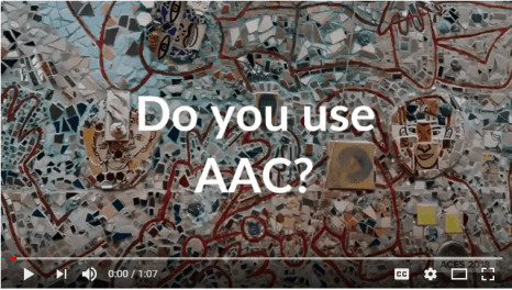 Image of a mosaic wall with the words, Do you use AAC?
