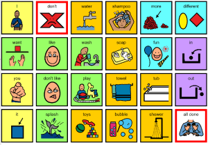 Image of core communication board for bath time.