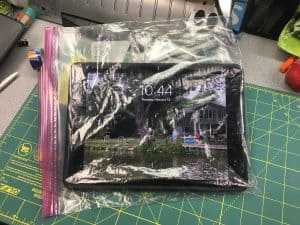image of iPad in a Ziploc bag