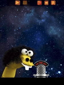 Image of a sock puppet in front of a field of stars