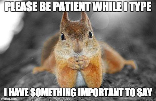 """Image of a squirrel say, """"Please be patient while I type, I have something important to say."""""""