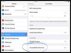 Image of Accessibility Shortcut iPad setting