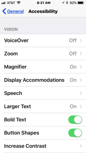 Image of the Vision related accessibility features in iPhone settings